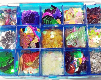 Box of Thousands Mixed Loose Sequins | Sequins Display Box included | Mixed Lot Sequins | Loose Sequins Collection|