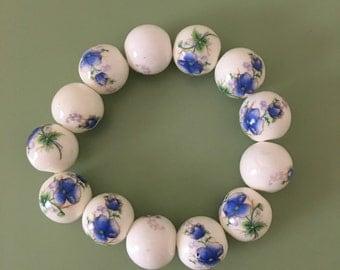 Blue Porcelain Beaded bracelet