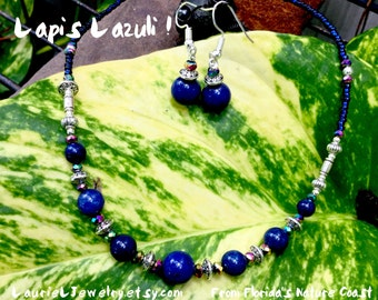 Lapis Lazuli Choker Necklace with Matching Earrings by LaurieL  #S231cs