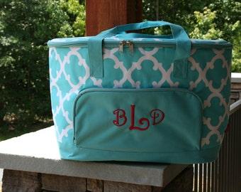 Monogram Cooler Bag Aqua Geometric Quatrefoil