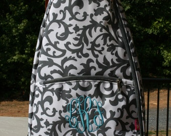 Monogrammed Tennis Bag Gray Floral Ladies Personalized Tennis Racquet Backpack