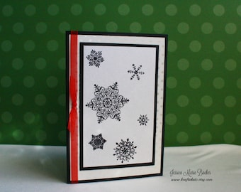Handmade Card, Snowflakes Holiday Card, Black White and Red
