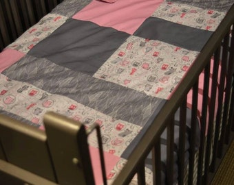 Baby blanket , pink and grey cats