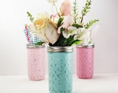 4- Hand Painted 12 Oz. Quilted Jelly Jars Mason Jar Flower Vases-Ooh Baby Collection- Cottage- Country Decor- Baby Shower- Nursery Decor