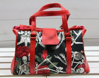 Doctor Bag, Barrel Purse, Doctor Handbag, Red Rose Skeleton Nora Doctor Bag Purse