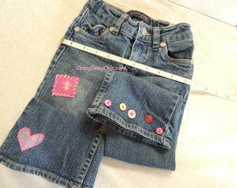 Customized Toddler Girls Jeans size 3T Adjustable waist