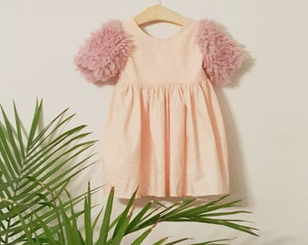 Mila Fur Sleeve Dress - Baby, Toddler, Child, Girl, Pink, Fur, Boho, Modern Ac