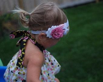 Antique Pink baby headband , WhitePink toddler headband, Pink Burlap flower headband