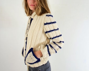 Handmade Striped Cardigan Sweater Cream and Navy