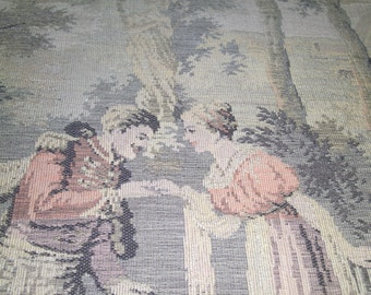 Antique Victorian Garden Courting scene made in France wall tapestry