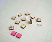 Laser Cut Wood Squares  9mm, Wood Tiles for Stud Earrings, 20 Unfinished Wood geometric Tiles for earrings