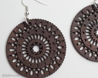 Wood Mandala Earrings - Bohemian Earrings - Laser Cut Earrings