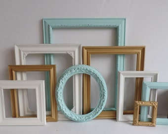 Aqua Gold And White Picture Frames Set - Baby Nursery - Wedding - Vintage Ornate Collection - Shabby Chic - Distressed - Gallery Wall