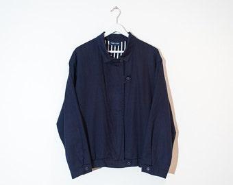 on sale - 80s dark blue zip-up bomber / lightweight windbreaker jacket / size L / XL