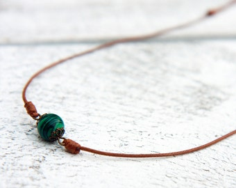 Malachite necklace,  Green natural stone necklace, Simple green necklace