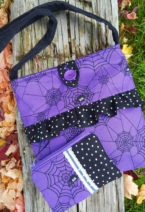 Trick or Treat Tote, Girl's Trick or Treat Purse, Halloween Purse, Halloween Tote, Girl's Spider Purse, Spider Tote