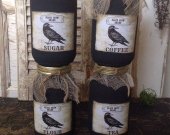 Primitive Black Crow Mason Jar Pantry Canister Set of 4 Sugar Flour Coffee Tea