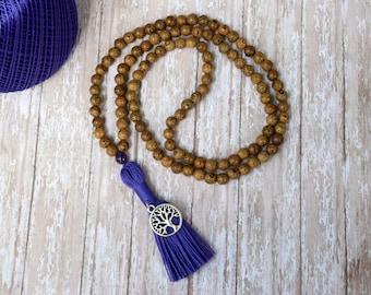 Tassel Necklace, Wood Bead Tassel Necklace, Mala Necklace, Mala Bead, 108 MALA Bead, Wenge Wood Necklace, Wood Bead Necklace, YOGA