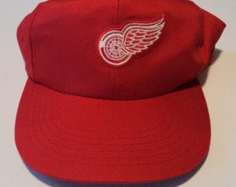 Vintage Detroit Red Wings '80s Krystal Snapback Hat NHL VTG