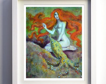 Original acrylic painting of a mermaid with an octopus 11x14 inches deep edge wooden board artist signed fine art