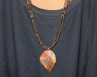 Copper and Black Necklace with Copper Leaf Pendant