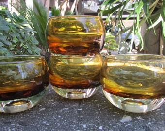 Mid Century Modern Amber Glass Votive set of 4