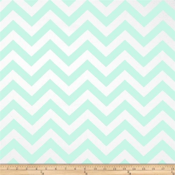 Mint Green Chevron Twill ZigZag Home Dec Fabric - One Yard ...