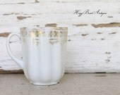 Vintage Demi Cup White Gold Porcelain Mug Coffee Cup French Farmhouse Country Chic