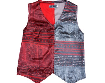 Clearance SALE: Ethnic woman top, Printed vest, Sleeveless blouse, Limited edition designer blouse by Dikla Levsky