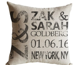 Wedding Pillow, Wedding Gift for Couple, Personalize Pillow Cover, Couple Pillow 4th Anniversary Gift, Engagement Gift, Custom Date Cushion