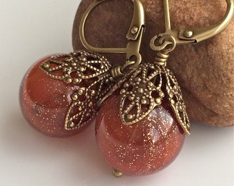 Orange Glass Earrings  Hollow Glass Earrings  Bohemian Earrings  Boho  Brass Earrings  Gypsy Dangles
