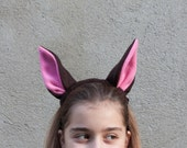 Bat Ears Headband, Bat Costume, Brown and Pink Ears Head Band, Children's or Adult's Photo Prop, Pretend Play