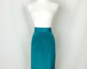 Vintage 80s Skirt/ 80s Teal Silk Pencil Skirt
