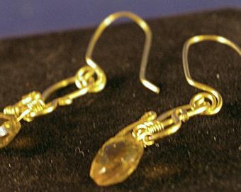 Brass Drop with Citrine Earrings