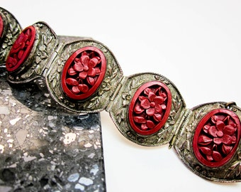"Bracelet Antique Cinnabar Chinese Export Carved Floral , Art Deco, 1"" Wide Bracelet, ca.1920, Ex. Condition."