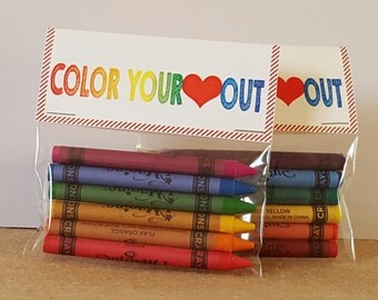 Kids Valentine Favors, Goodie Bags, Color Your Heart Out
