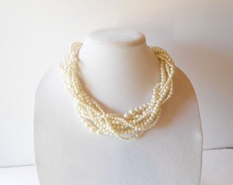 Pearl Necklace Vintage Pearl Jewelry 9 Strand Twisted Pearl Collar Glamorous Costume Jewelry