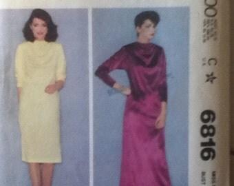 """McCall's Dress Pattern 4733 Size 14, Bust 36"""", Waist 28"""", Hip 38""""."""