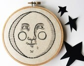 Hand Embroidered Man in the Moon Art Hoop; Full Moon Moon Phases