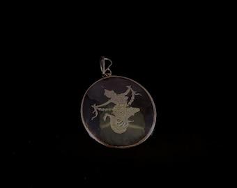 Exquisite Vintage Antique Siam Nielloware Sterling Silver Pendant