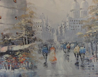 Vintage original oil on canvas painting of a city signed by the artist Bernard