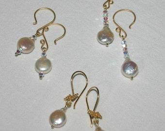COIN PEARL EARRINGS... 3 Pairs...Bridesmaid package
