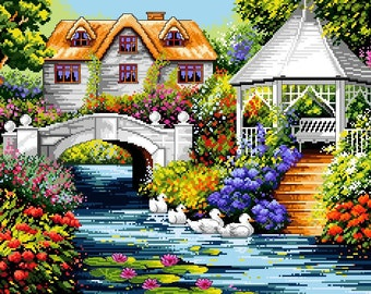 Gazebo by the Stream -Cross Stitch PDF Pattern