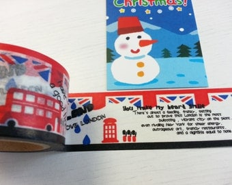 Christmas Sales - Red London Bus Washi / Masking Tape - 30 mm x 10 M