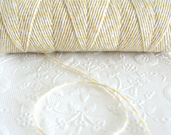 100 Yard Spool Light Yellow and White Baker's Twine Spool | Cotton Twine | Yellow Twine | Pretty Packaging