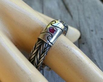 Mans Modern ruby wave surfer signet wedding dress ring sterling silver