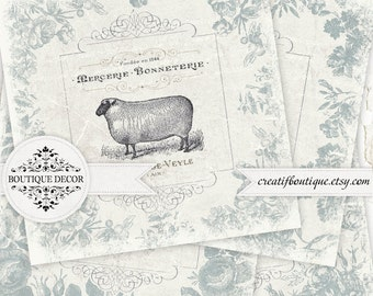 Vintage Provence Coasters, Cards, Scrapbooking/Decoupage paper. Set of 5. Digital download for scrapbooking and packaging.