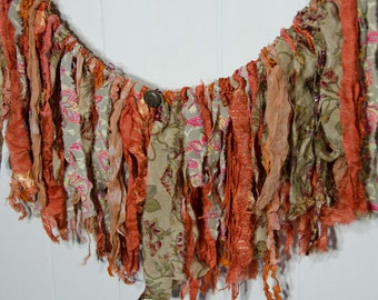 """Bohemian Garland / Party Garland  / Nursery GarlanBurnt Orange and Brown / Photograph Prop Measures 21 Wide and Drapes 10"""""""