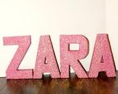 Glitter Letter Monogram Decoration, Personalized Colored Glitter Cardboard Letters