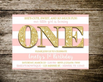 Pink and Gold Birthday Party/Gold Glitter Party/First Birthday Gold and Pink